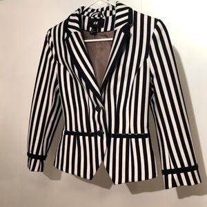 Striped Navy & White Blazer Jacket